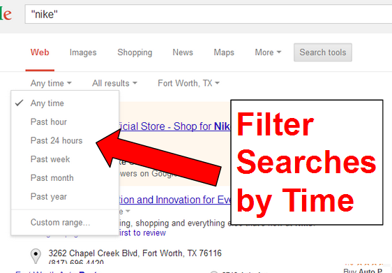 Filter Searches by Time