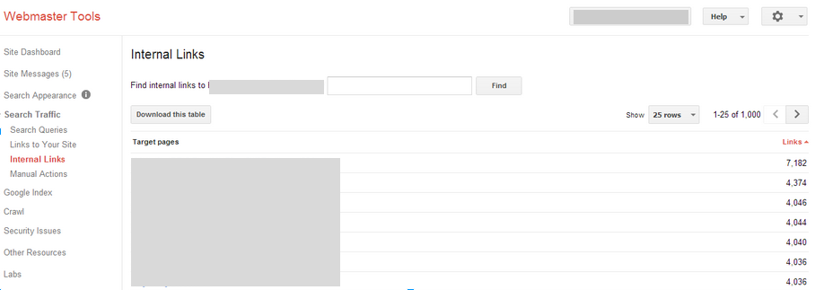 View Links in Google Webmaster Tools