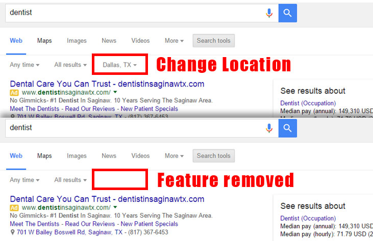 Google Change Location Search Feature Removed