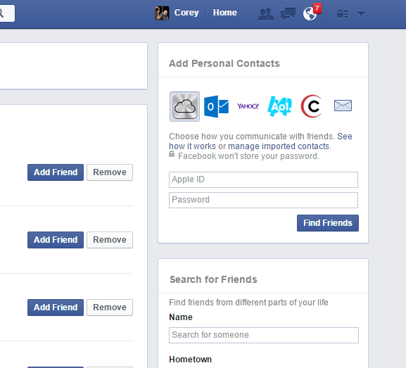 Add Facebook Friends - Email Options