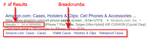 Number of Results & Breadcrumbs in SERPs