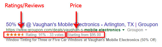 Ratings/Reviews & Price in SERPS