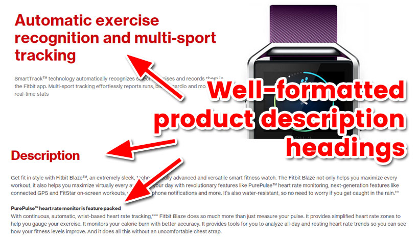 Well-Formatted Product Description Headings